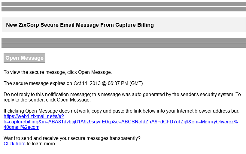 1 Secure email message notification