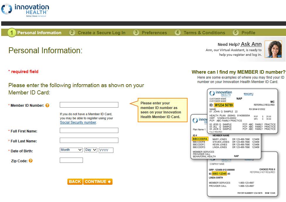 Insurance company login screen